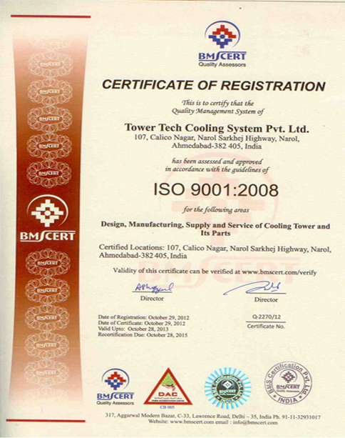 ISO Certificate - Tower Tech Cooling System Pvt. Ltd.